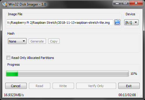 Burning Raspbian Stretch with Win32 Imager