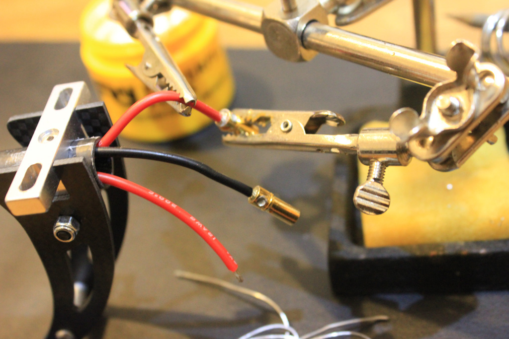 Soldering the connectors for the motors