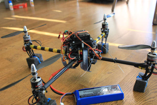 Ready for test. Balanced carbon fiber propellers and a massive 4500mah high discharge LiPo battery
