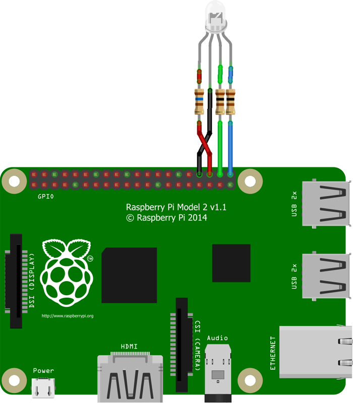Common Cathode RGB LED Raspberry Pi