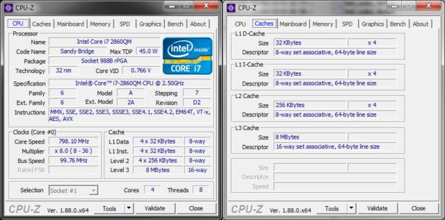 CPU-Z Intel Core i7-2860QM CPU