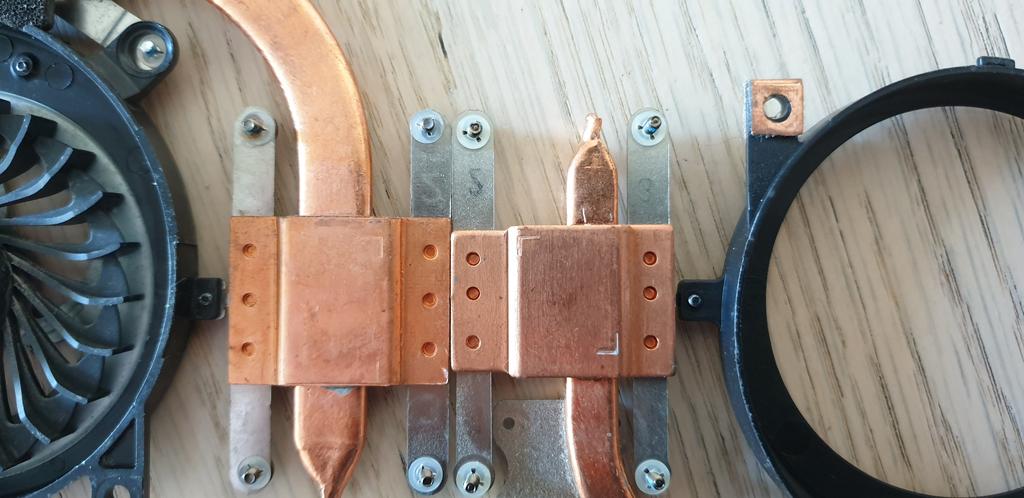 Sony VAIO Heatsink Copper Plates Comparison