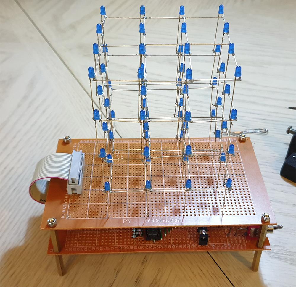 Assembled 4x4x4 LED Cube