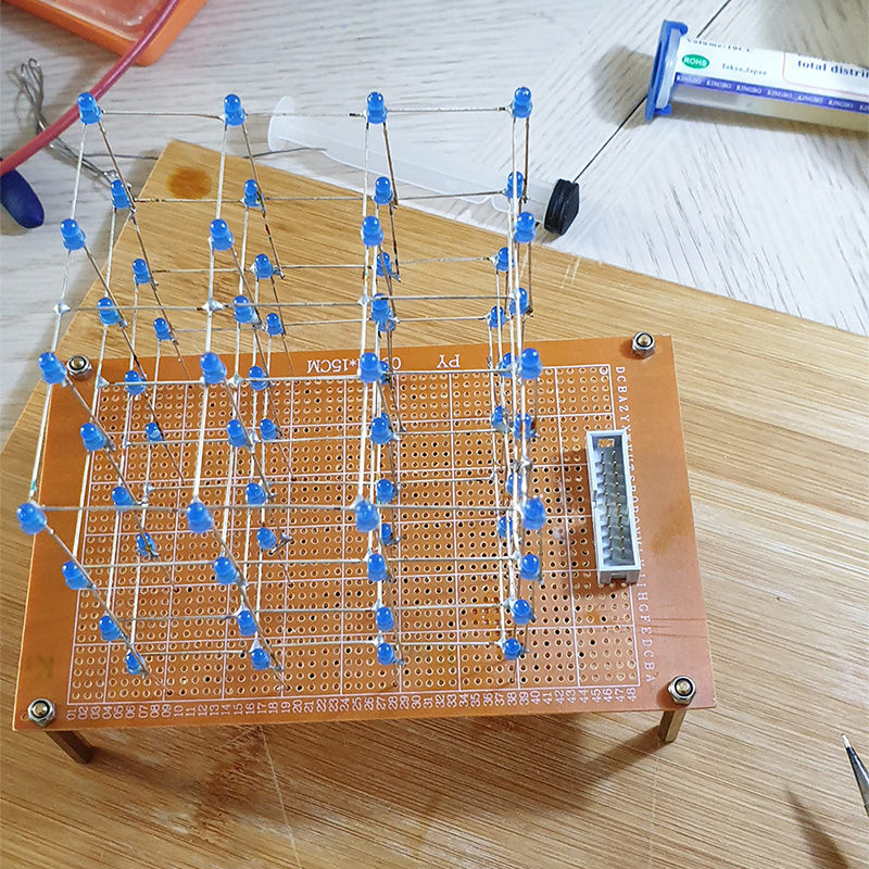 Completed 4x4x4 LED Cube On Prototype PCB